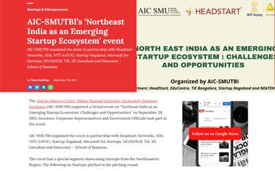 aAharan was selected for AIC-SMUTBI's 'Northeast India as an Emerging Startup Ecosystem' event